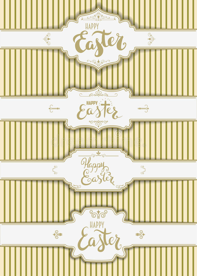 Set Of The Happy Easter Labels Templates Stock Vector