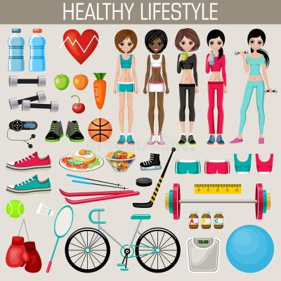 Set Of Healthy Lifestyle Elements Stock Vector - Image ...