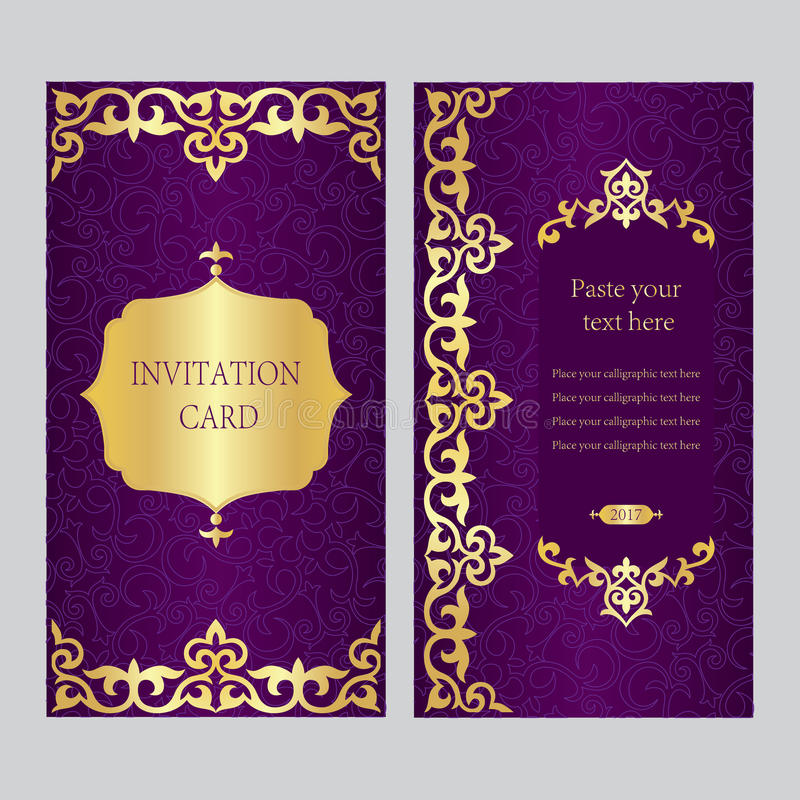 A Set Of Invitation Cards Purple Background With Gold Asian, Ka - business invitations templates