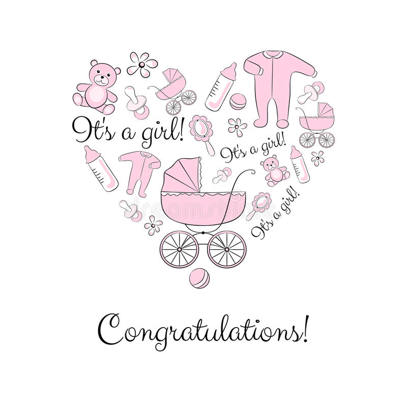 Set Of Items For A Newborn Girl Stock Vector - Illustration of