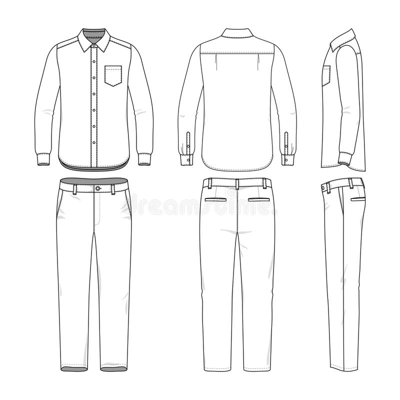 Set Of Male Shirt And Pants Stock Vector - Illustration of panties - blank fashion design templates