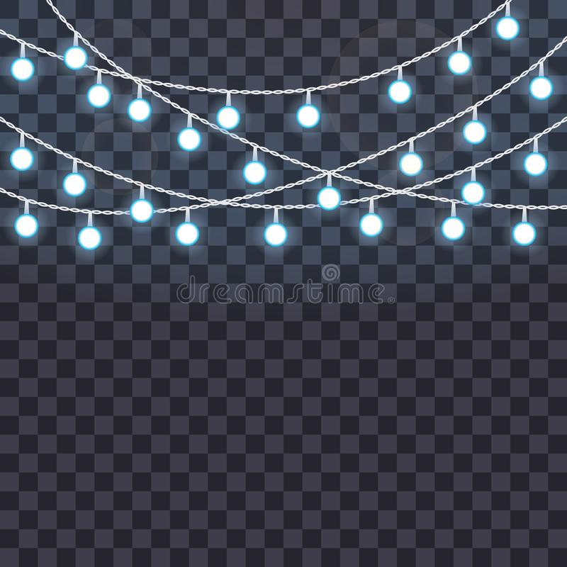 Set Of Overlapping Glowing String Lights On A Transparent