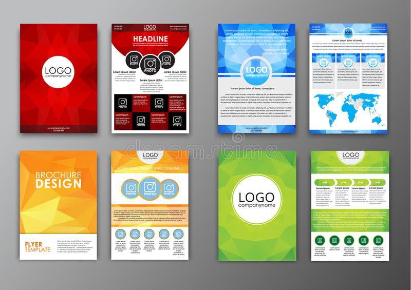 Set Polygonal Brochures And Flyers Stock Vector - Illustration of - flyers and brochures templates