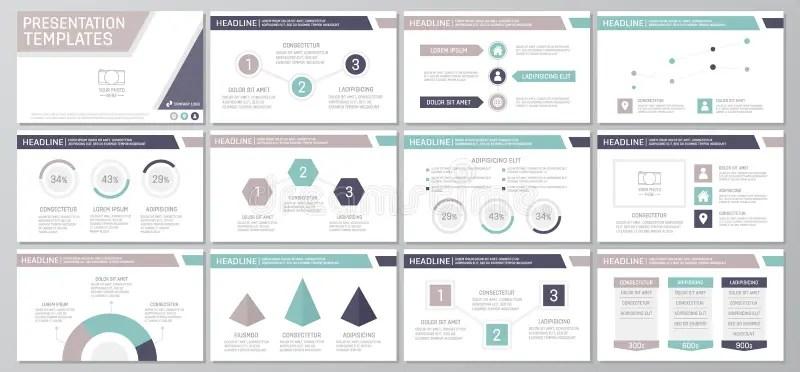 Set Of Purple Elements For Multipurpose Presentation Template Slides