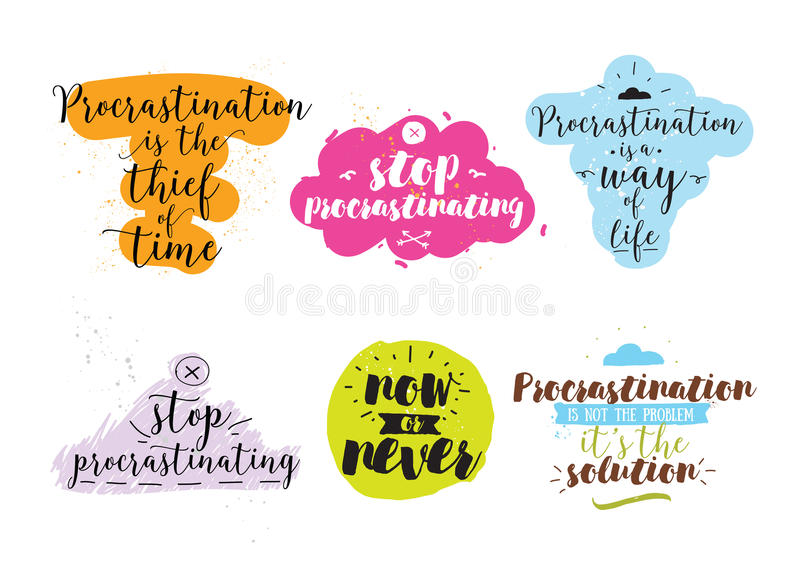 Set Of Quotes About Procrastination Hand Drawn Design Stock Vector - quotes about procrastination