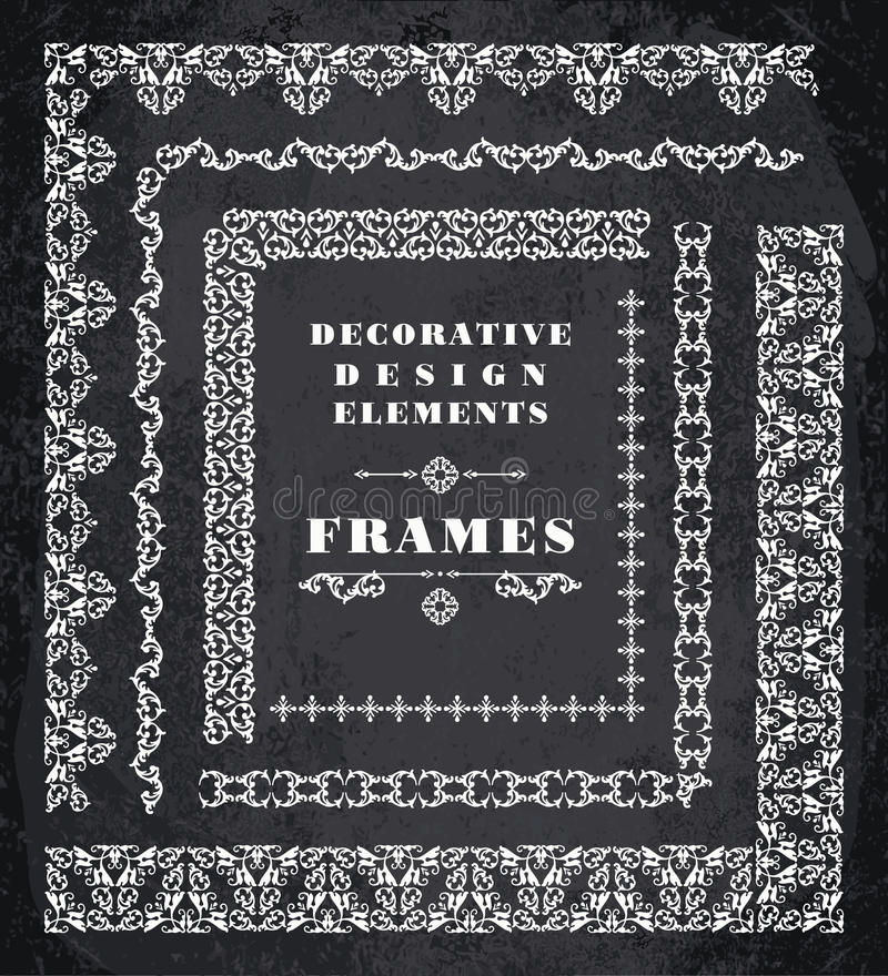 Set Of Retro Vintage Frames And Borders Chalk Board Background - chalk borders