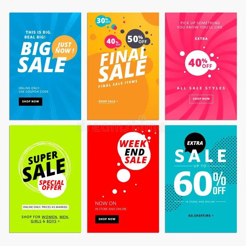 Set Of Sale Website Banner Templates Stock Vector - Illustration of