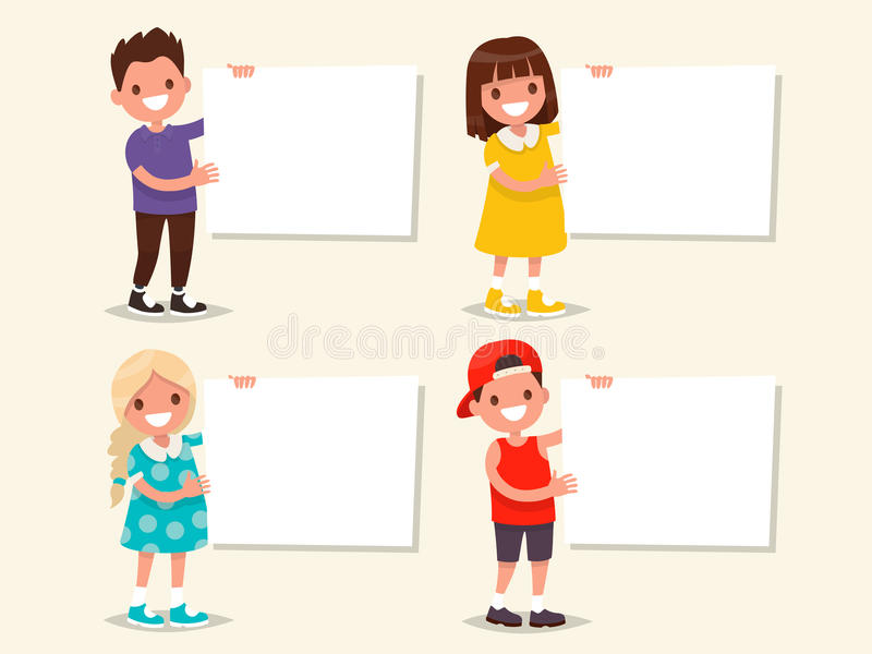 Set Of Templates Children Hold A Board Vector Illustration Stock