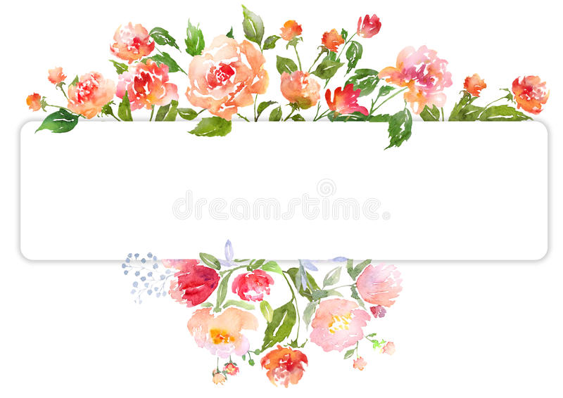Orange Fall Peony Wallpaper Set Of Watercolor Floral Composition Stock Illustration