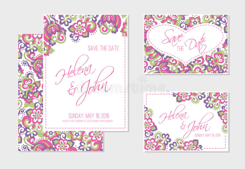 Set Of Wedding, Invitation Or Anniversary Cards With Colorful Floral