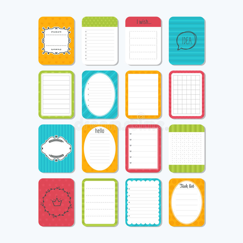 Sheets Of Paper Cute Design Elements Collection Of Various Note - notepad paper template