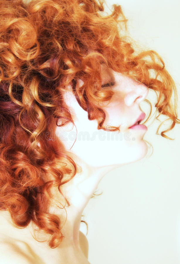 Long Hair Bangs Images Side Profile Of Woman With Curly Red Hair Stock Photo