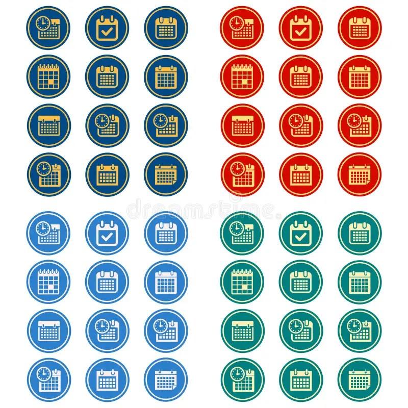 Simple, Flat, Circular Calendar Icon Set 12 Icons, 4 Color Design - circular calendar