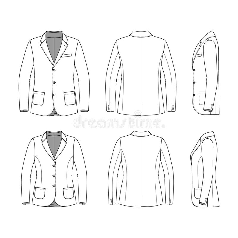 Simple Outline Drawing Of A Blazer Stock Vector - Illustration of - blank fashion design templates