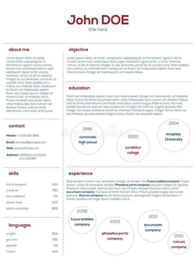Simplistic Modern Cv Curriculum Vitae Cv Design Stock Vector