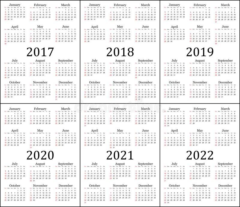 Six Year Calendar - 2017, 2018, 2019, 2020, 2021 And 2022 Stock - 12 calendar