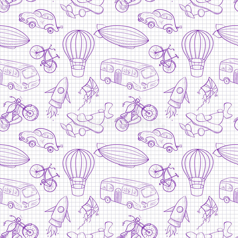 Sketches Means Of Transport, Boys Vector Seamless Stock Vector - background sketches