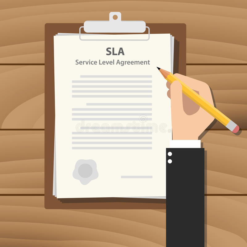 Sla Service Level Agreement Illustration With Business Man Signing A
