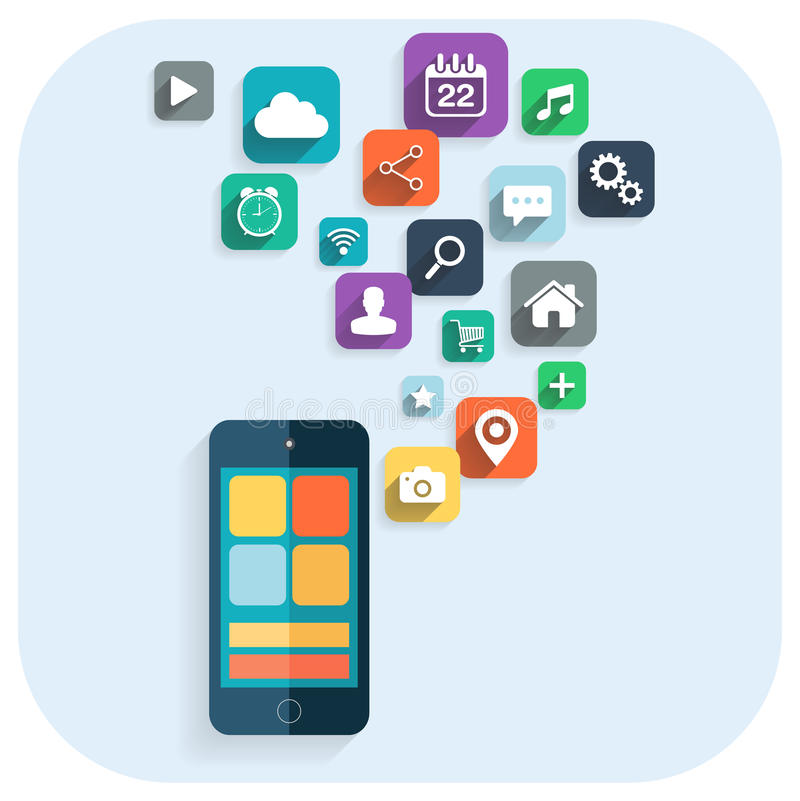 Smart Phone Apps Info Graphics Icons For Website Stock Vector