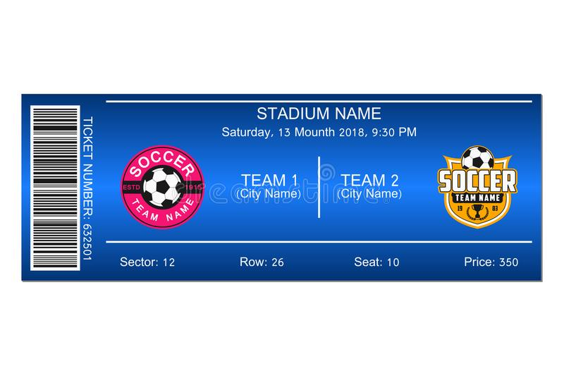 Soccer Ticket Template Design For Football Stadium Ticket Vector - Ball Ticket Template