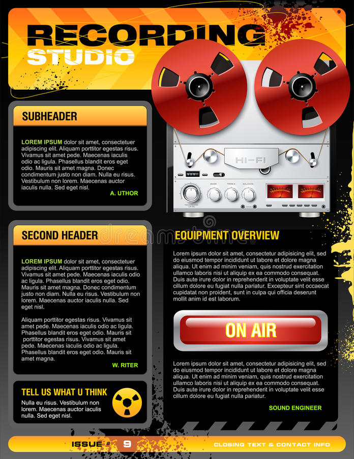 Sound Recording Studio Brochure Flyer Vector Stock Vector - studio brochure