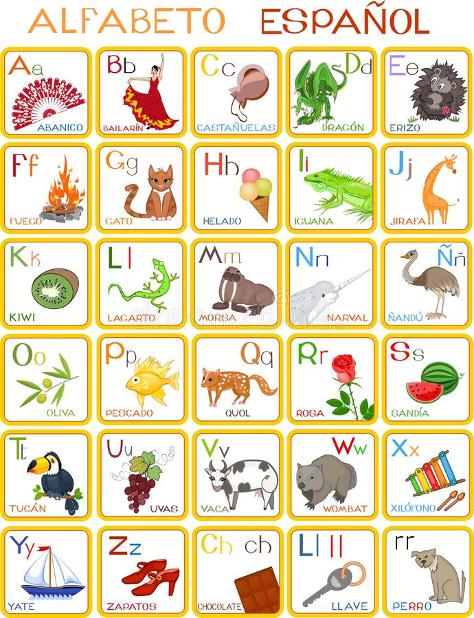 Spanish alphabet stock vector Illustration of preliminary - 63568676 - alphabet in spanish