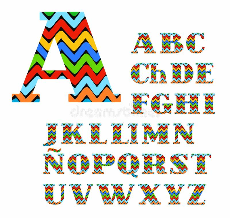 Spanish Alphabet, Colorful Zigzag, Vector Stock Vector - alphabet in spanish