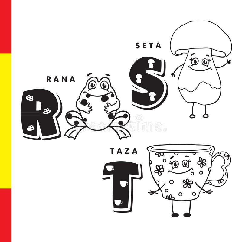 Spanish Alphabet Frog, Mushroom, Cup Vector Letters And Characters - alphabet in spanish