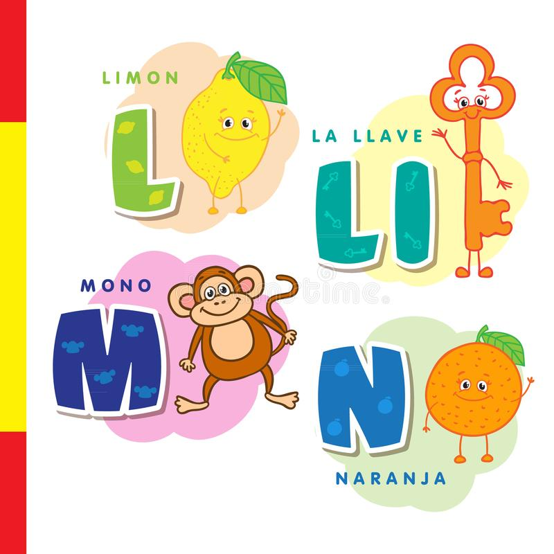 Spanish Alphabet Lemon, Key, Monkey, Orange Vector Letters And - alphabet in spanish
