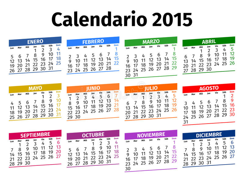 Spanish calendar 2015 stock photo Image of green, colored - 45142228