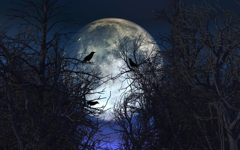 Spooky Background With Crows In Trees Against Moonlit Sky Stock