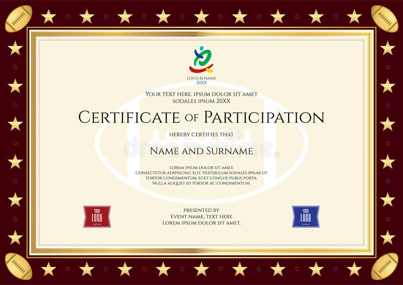 Sport Theme Certification Of Participation Template Stock Vector