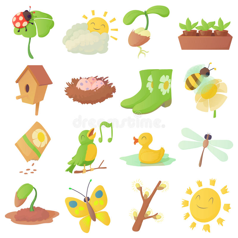 Spring Things Icons Set, Cartoon Style Stock Vector - Illustration