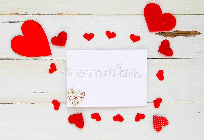 St Valentine`s Day Vintage Overhead Template With Blank Note And