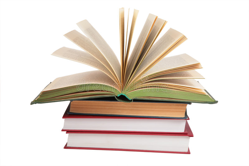 Stack Of Books With Opened Book Stock Image - Image of design - opened book