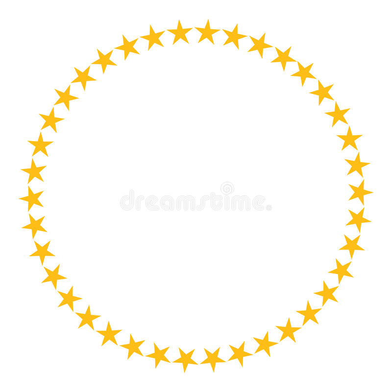Star In Circle Shape Starry Vector Border Frame Icon Isolated On A