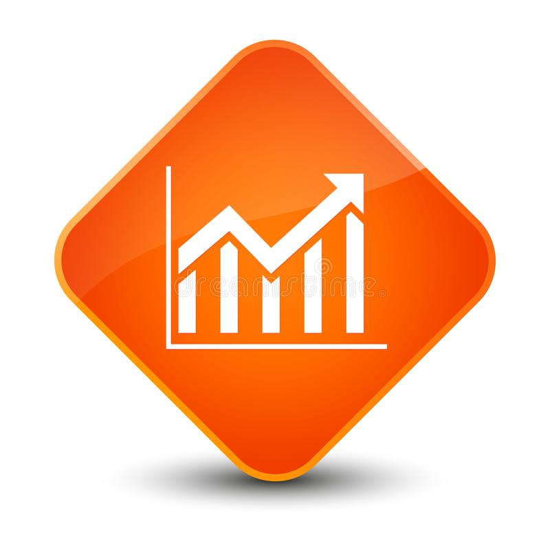 Statistics Icon Elegant Orange Diamond Button Stock Illustration