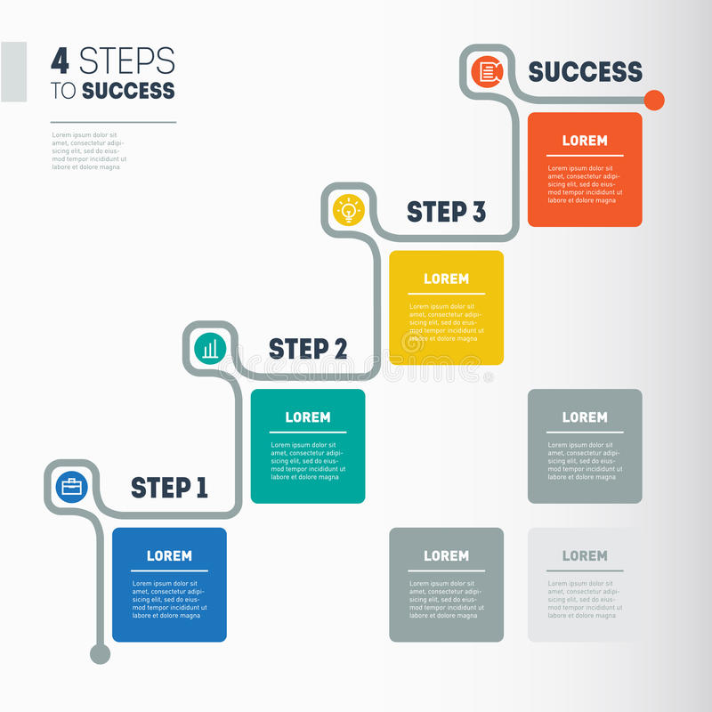 4 Steps To Success - Business Timeline Info Graphic Template Wo - business timeline template