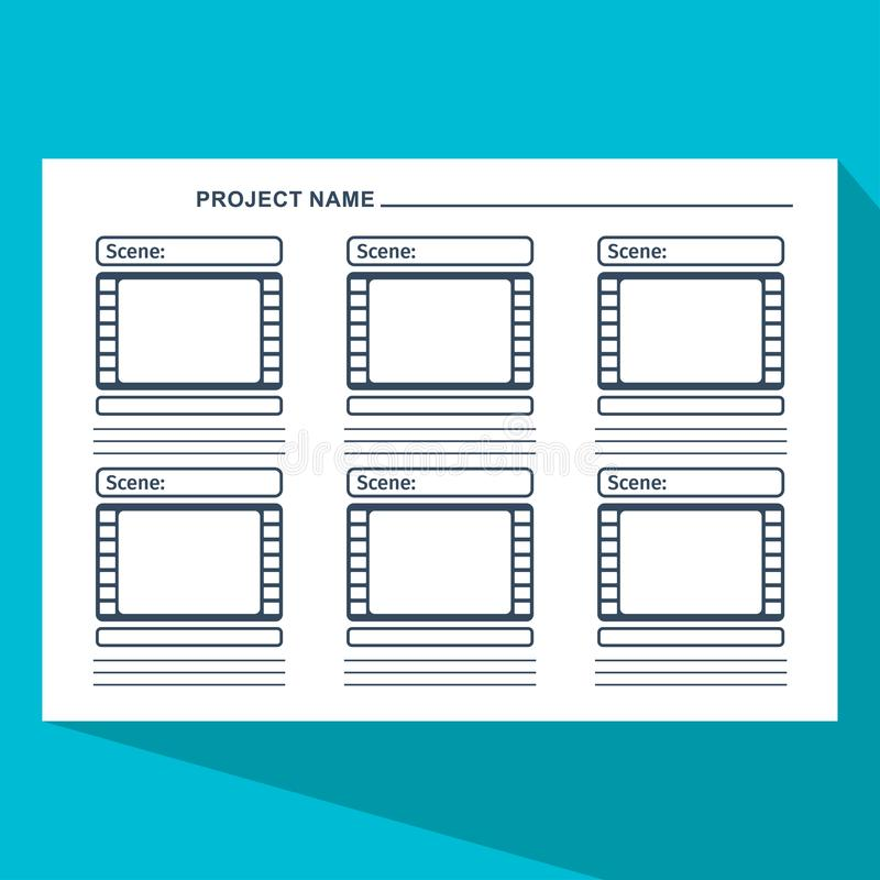 Storyboard template blue stock vector Illustration of color - 107278375