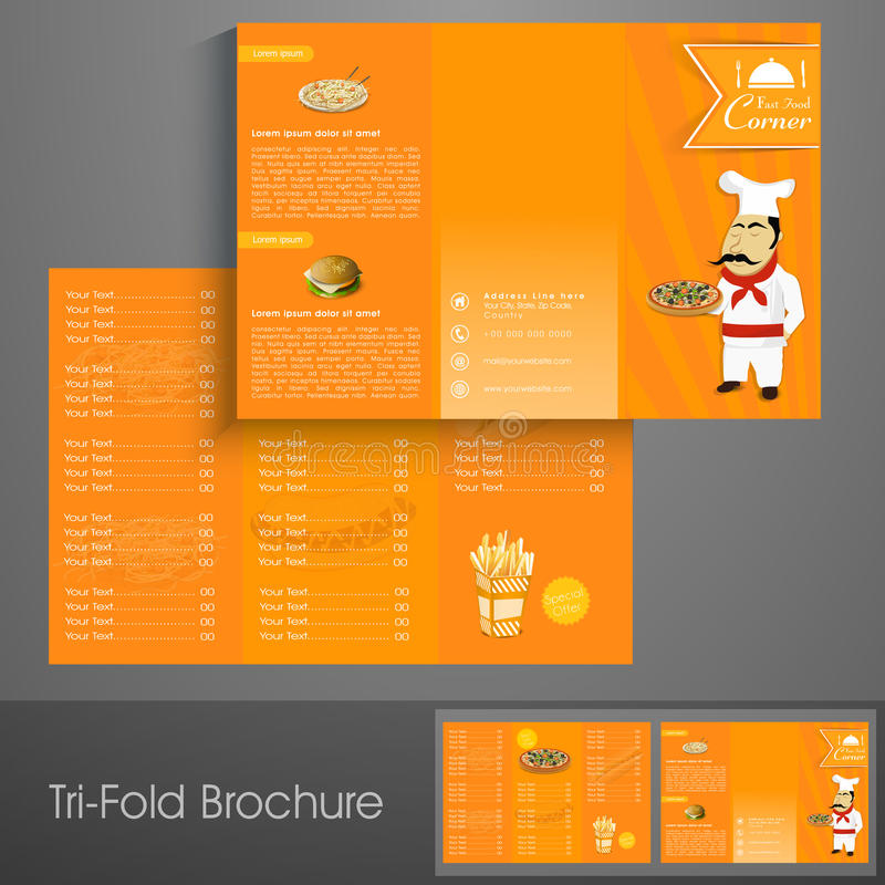 Stylish Tri Fold Brochure, Template Or Flyer For Restaurant Stock