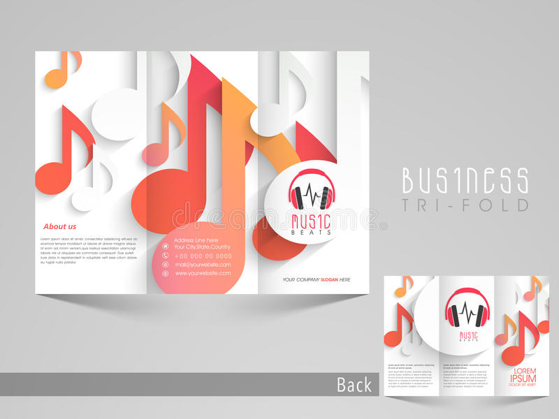 Stylish Trifold Brochure, Catalog And Flyer Template For Music - music brochure