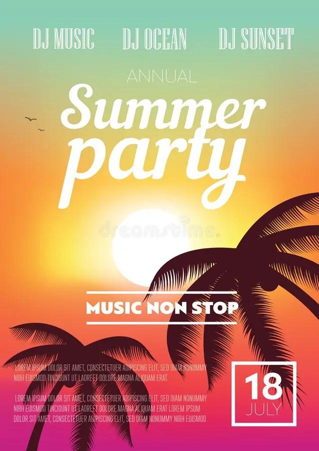 Summer Beach Party Flyer stock illustration Illustration of orange