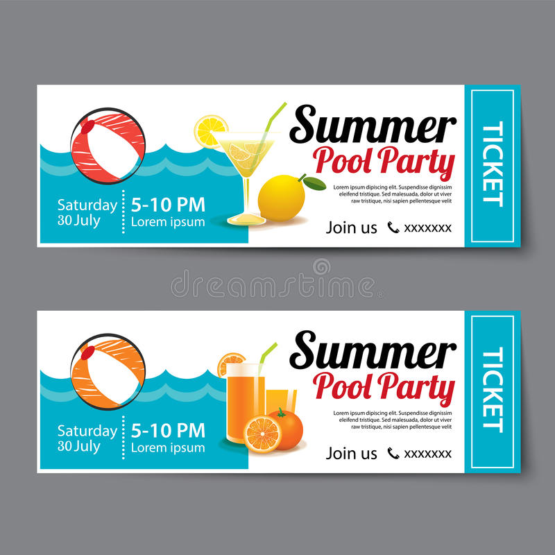 Summer Pool Party Ticket Template Stock Vector - Illustration of