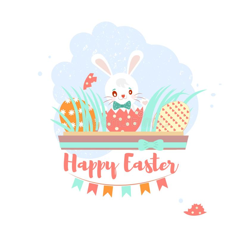 Sweet Happy Easter Greeting Card With Banny, Rabbit, Eggs And Cake