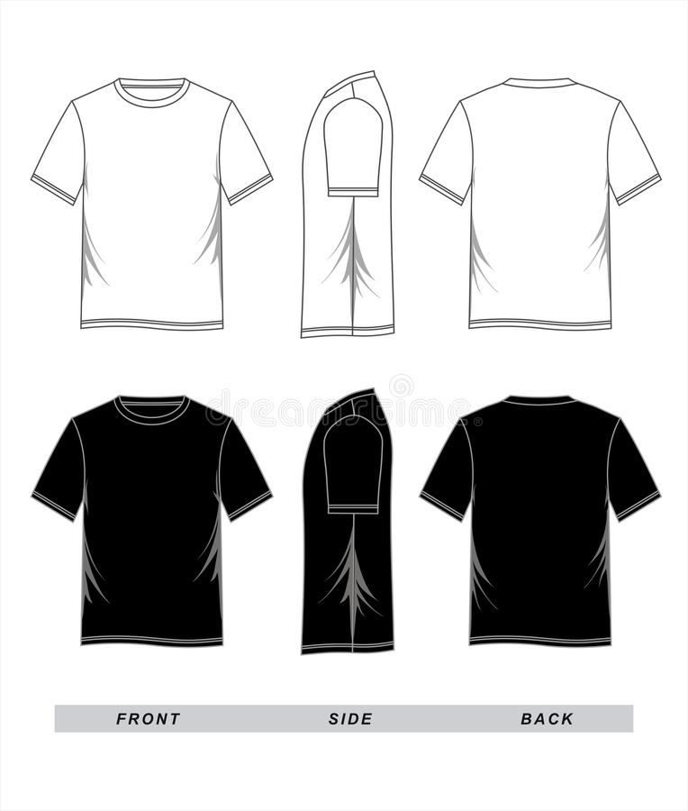 T-shirt Template Black White, Front, Side, Back Stock Vector - t shirt template