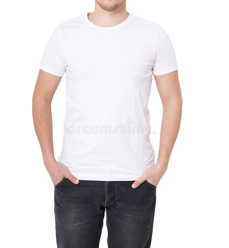 T-shirt Template Front View Mock Up Isolated On White Stock Image - pocket t shirt template
