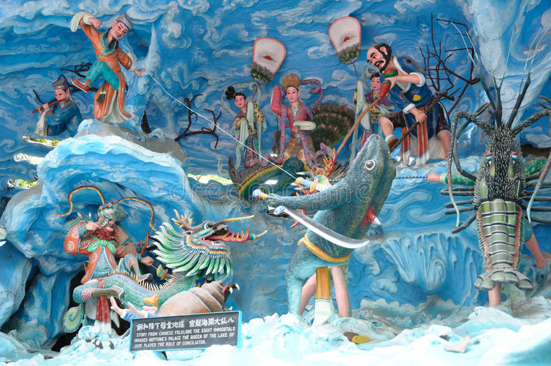Tableaux Of The Chinese Eight Immortals At Haw Par Villa Theme Park