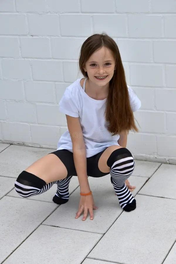 Cute Attitude Wallpaper Teenage Girl Crouching Stock Image Image Of Length