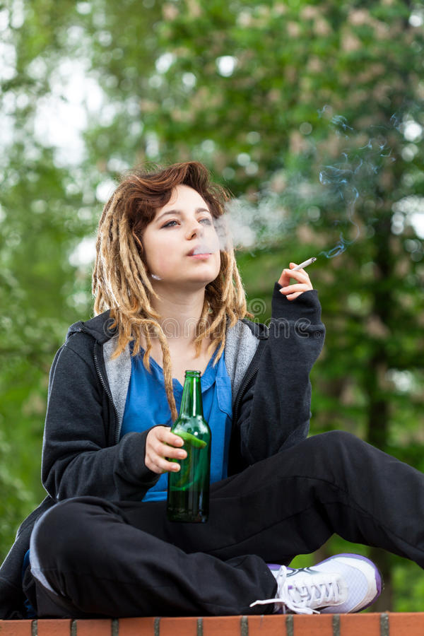Cigaret With Girl Wallpaper Download Teenage Girl Drinking Beer And Smoking Cigarette Stock
