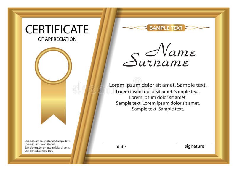 Template Certificate Of Appreciation Gold Design Vector Stock - Sample Certificate Of Appreciation